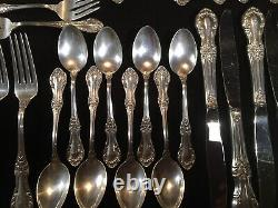 47pc Vintage 1940s INTERNATIONAL WILD ROSE sterling silver silverware SET 2190gr