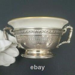 4 Cream Soup Bouillon Bowls International Sterling Silver Lenox Liners Rare