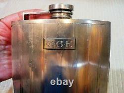 ANTIQUE ART DECO INTERNATIONAL STERLING SILVER FLASK ENGRAVED 281g 3/4 pint