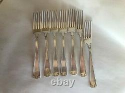 Gorham Sterling Silver Etruscan 7 Dinner Forks Monogram F Used