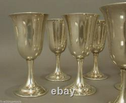 INTERNATIONAL SILVER STERLING LORD SAYBROOK P664 GOBLET SET of 8 -NO MONOS MINTY