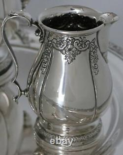 International Prelude Hand Chased Sterling Silver Pot, Sugar, Creamer and Tray