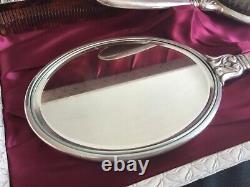 International Royal Danish Sterling Silver Mirror & Brush Set Vanity Dresser Box