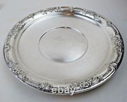 International STERLING SILVER Hollowware H279 WILD ROSE 10 Sandwich Plate 244g