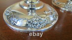 International Silver Sterling Queens Lace Pair Console Candlestick Candleholder