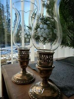 International Sterling Silver Weighted Antique Hurricane Lamp Candle Holder Pair
