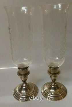 Pair of International Weighted Sterling Hurricane Candle Holders With Cut Crystal