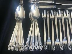 Royal Danish International Sterling Silver 86 Piece Flatware Set Service for 12