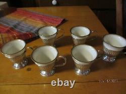 STERLING SILVER INTERNATIONAL egg cups/SAUCERSLENOX CHINA egg cups SET/6