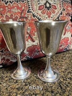 Set of 2Sterling Silver Lord Saybrook International Wine Water Goblets Cups