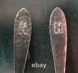 Sterling Silver Applied H Monogram set 12 Ice Cream Forks From Van Dyke INTL Set