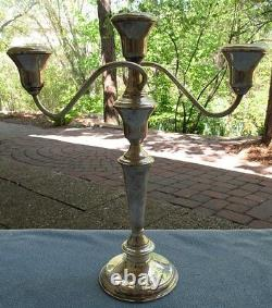 TWO International Sterling Silver 3 Light Candelabra Candle Holders