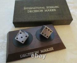 Vintage International Sterling Decision Maker Sterling Silver Dice Set withstand