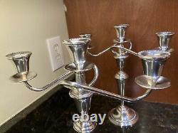 Vintage International Sterling Silver Weighted 3 Light Candelabra Prelude-Plain