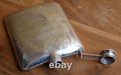 Vintage Sterling Flask Hand Hamered Half Pint Flask. 925 Sterling International
