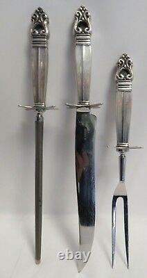 Vintage Sterling Silver Handled International Royal Danish Large Carving Set (3)