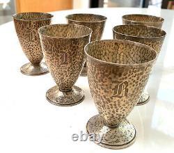 Vintage, hammered sterling silver, footed shot glasses
