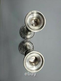 Wild Rose International Sterling Weighted Candle Stick Silver N246 pair 10