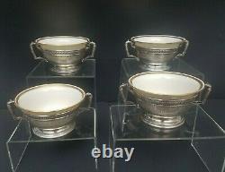 4 Soupe À La Crème Bouillon Bols International Linges De Lenox Argent Sterling Rare