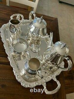 6 Pc Nice Heavy Royal Danish Coffee / Tea Set International Sterling + Nouveau Plateau