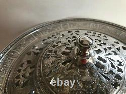 Antique International Silver Sterling Centerpiece Footed Reticulated LID Compote