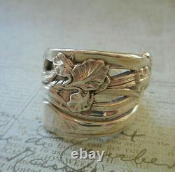 Belle Patine Vieillie Ornate Vintage'sterling Iris Spoon Ring 41r2