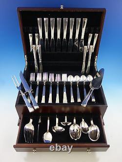 Continental Par International Sterling Silver Flatware Set 8 Service 51 Pcs Plain