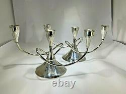 Deux Modernist International Sterling Silver Three Light Convertible Candelabras