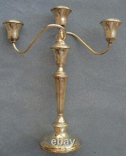 Deux Porte-bougies International Sterling Silver 3 Light Candelabra