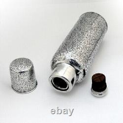 Engravé Floral Scroll Thermos Cup Cap International Argent Sterling