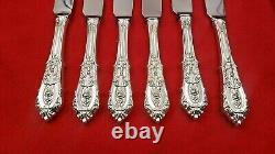 Ensemble De 6 Rose Point Par Wallace Sterling Silver Serrated Steak Knives Custom Made