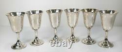 Ensemble De 6 Sterling Silver Lord Saybrook International Wine Water Goblets Cups