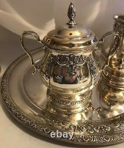 International Prelude Hand Chased Sterling Coffee Tea Pot Sugar Creamer & Tray