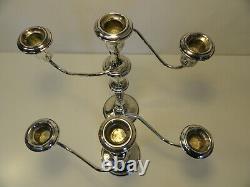 Paire Internationale D'argent Sterling De 3 Candelabras Convertibles De Lumière Zc1-28