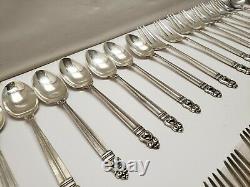 Sterling Silver Flatware Royal Danish De L'international 46 Piece Set Avec Le Boîtier 1954