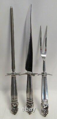 Vintage Silver Sterling Handled International Royal Danish Grand Carving Set (3)