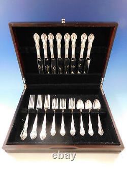 Wild Rose Par International Sterling Silver Flatware Set Pour 8 Service 32 Pièces